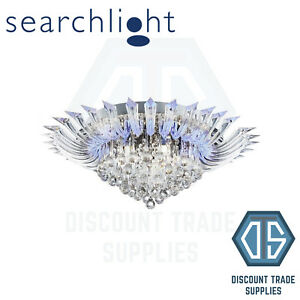 8215-5CC SEARCHLIGHT CRYSTORIA CHROME 52 LED CEILING LIGHT WITH CLEAR GLASS DROP