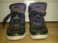 Mens Trainers - Nike Air Hi Tops - Black With Purple - Lace-Up - Size 5.5 UK