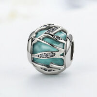 Nature's Radiance Charm Solid 925 Sterling Silver Blue & Clear CZ Bead for Women