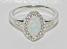 STERLING SILVER (925) OPAL & WHITE ZIRCON LADIES MARQUISE CLUSTER RING - size T
