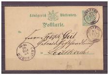 Württemberg, Ganzsache P 34 Wolfegg nach Leutkirch 21.02.1890