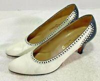 SALVATORE FERRAGAMO White& Black  Leather Pumps Shoes Women's Size Us 9 AAA