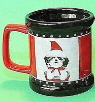 Keith Kimberlin Ceramic Cup Mug Shih-Tzu Santa Christmas Dog Red Black NWOT
