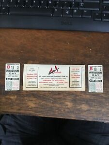 1949 St. Louis Cardinals Baseball Club Ticket Stubs Plus Ticket Envelope. Great
