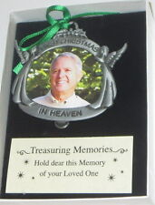 First Christmas In Heaven Photo Ornament Memorial Angels Pewter New Picture