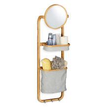 Étagère de salle de bain en bambou suspendue miroir panier corbeille crochets