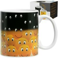 Coffee Magic Mug Smiley Faces Design*Cool*Tea*Heat Sensitive Cup*Gift Idea