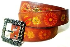 Vintage Tool-Stamped Leather 60's Retro Boho Flower Hippie Belt Size 28-32 inch