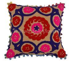 Suzani Pillows Pom Pom Cushion Cover 16x16 Indian Vintage Throw Boho Pillowcases