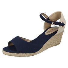 Ladies Spot on Wedge Heel Esparilles F2260 UK 6 Navy (blue) Standard