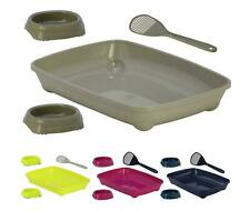 Cat Small Litter Tray With or Without Bowls and Scoop Box Pan Toilet Loo Kitten