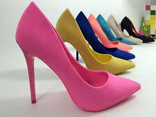 scarpe donna decolte scamosciata giallo,fuxia,blu,beige,pesca,nero