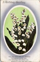 A Birthday Greeting With Poem and White Flowers Old Postcard Unused A3