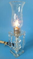 Vintage Hurricane Lamp Crystal Prisms w Floral Etched Glass Shade Boudoir Mantel