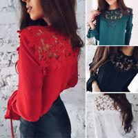 Fashion Women Floral Crochet Lace Casual Long Sleeve Chiffon Blouse T Shirt Tops