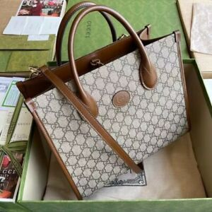 Gucci Ophidia Luggage leather-trimmed printed coated-canvas tote 98% New