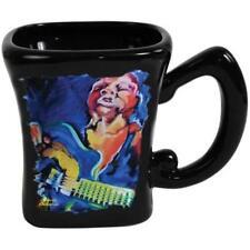 4 Inch Black Ceramic 14 oz Coffee Mug with Jazz Blues Guitar Musician