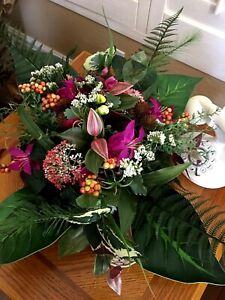 Table centerpiece.  Silk flower floral arrangements .Office