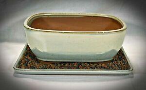 Bonsai Schale 2236 _2 mit Untersetzer 16,5x13x7,5 Silberfarben Anzuchtschale