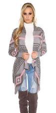 Cardigan da donna grigia con lunghezza alla vita