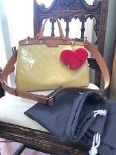 louis vuitton handbag Brea MM Vernis Leather Strap Bag Crossbody Satchel Auth