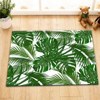 Green Tropical Palm Leaves Floor Memory Foam Carpet Rug Non-slip Door Bath Mat