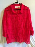 Women's Alfred Dunner Red Button Front top Sailboat Print Nautical Plus Size 22W