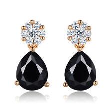 Unique Women 18K Gold Filled Pear Black Onyx Topaz Stud Drop Earring Jewellery