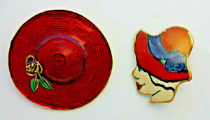 vintage pins L-S Louis Stern red hat & pin-back porcelain red hat lady