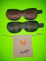 Lot of 2 Night Sleep Mask w/ Padded Memory Foam, Earplugs & Case - FREE Shipping