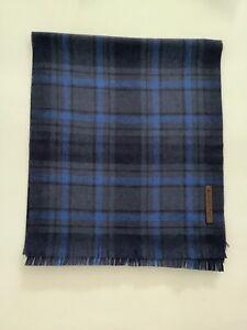 New Men's Ermenegildo Zegna Fine Knit Blue Plaid Ultra Soft Pure Wool Scarf