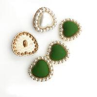 10stk Herzförmig Perle Metall Knopf Flatback DIY Kleidung Mantel Nähen Zubehör