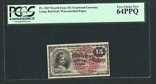1869-75 15 CENTS FRACTIONAL CURRENCY FR1267 CERTIFIED PCGS VERY CHOICE NEW-64PPQ