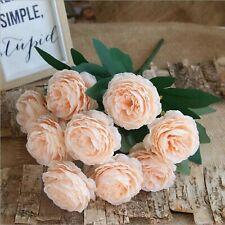 10Head Silk Artificial Peony Rose Flowers Fake Leaf Wedding Bouquet-nude