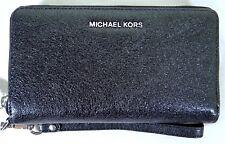 Michael Kors Black Metallic Leather Large Flat MF Phone Case Wristlet