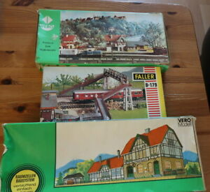 SUPER LOT OF BOXED HO SCALE KIT BUILDINGS AND ACCESSORIES BY VERO AND FALLER