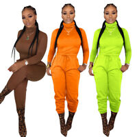 NEW Stylish Women's Long Sleeves High Neck Solid Color Clubwear Jumpsuit 2pcs