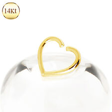14K Solid GOLD Heart Hoop CARTILAGE Daith Tragus Helix Earring EAR Ring Piercing
