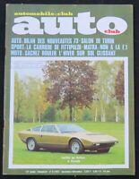 Revue AUTO CLUB 1972 Salon de Turin Khamsin Matra Fittipaldi