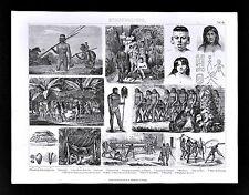 1874 Anthropology Print South American Aimoré Culture Botocudo Village Amazon