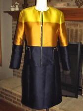 DESIGNER AKRIS PUNTO BLUE and GOLD BOLD STRIPE DRESS AND BLAZER JACKET 6