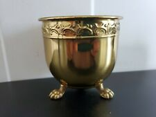 Brass 3 Claw Footed Round Small Planter Vase Display Deco Texture Holder