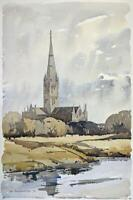FRED MARSHALLSAY Watercolour Painting SALISBURY CATHEDRAL 1972 IMPRESSIONIST
