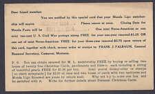 1934 MONDA LIGO NOTICE FOR MEMBERSHIP DUES, CAMERON MT