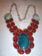 VINTAGE STERLING SILVER  CARNELIAN TURQUOISE BLUE & GIRVE GLASS NECKLACE