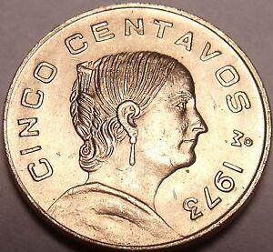 Gem Unc Mexico 1973 5 Centavos~Flat Top 3 Variety~Brass