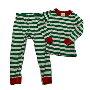Kids HANNA ANDERSSON Organic Cotton Pajamas Size 4 100 Green Red Stripe Holiday