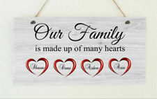 Personalised Family Hearts Love Hanging Plaque Wall Sign Present Gift Christmas
