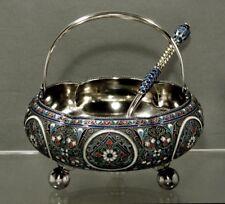 "Russian Silver & Enamel Sugar Basket & Spoon "" Signed "" 1889 & 1894"