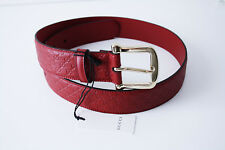 Gucci 281548 Belt Leather Unisex Size 90 Red Gold